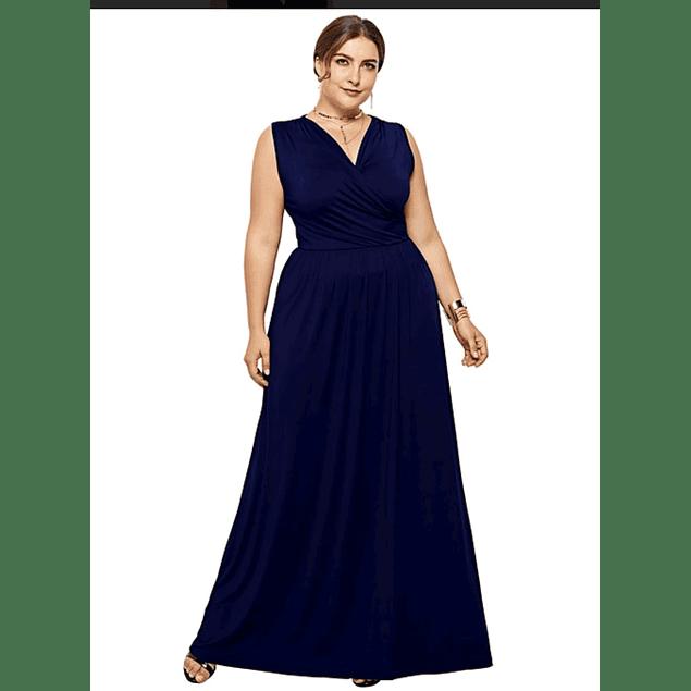 Vestido Largo Cruzado Sin Manga Tallas Plus Kadrihel