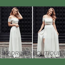 Conjunto de Set  Falda Crop Top  Ideal Para Boda Civil Tallas Plus Kadrihel