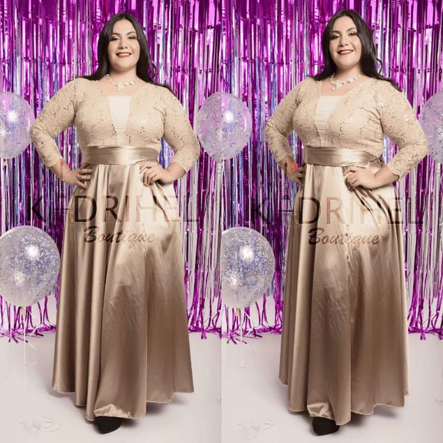 Vestido Largo Ideal Para Gorditas Formal Galas Tallas Plus Kadrihel