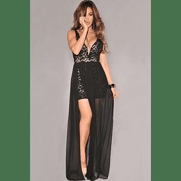 Vestido Corto Ajustado de Encaje con Falda de Gasa Tallas Plus Kadrihel