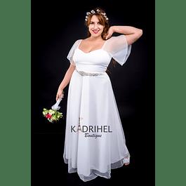 Vestido Largo Ideal Para boda  Tallas Plus Kadrihel. (no incluye cinturón)