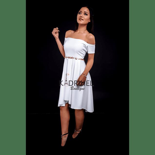 Vestido Asimétrico sin Hombro Ideal Para boda  Tallas Plus Kadrihel.