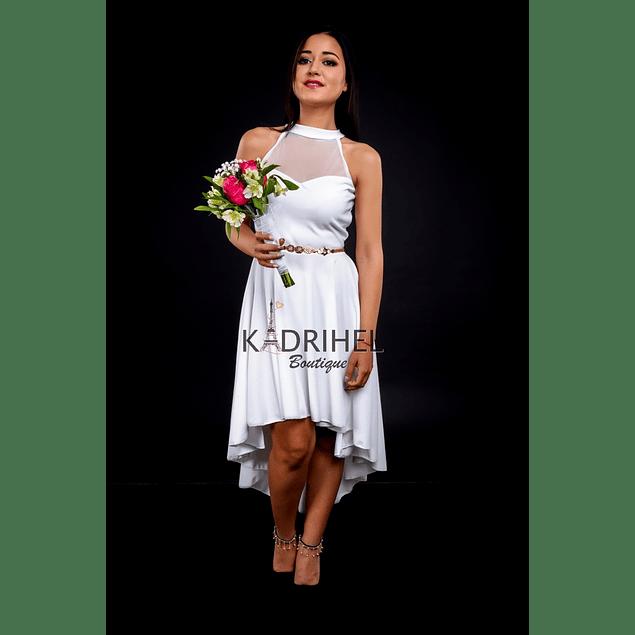 Vestido Asimétrico Cuello Alto Ideal Para boda  Tallas Plus Kadrihel.