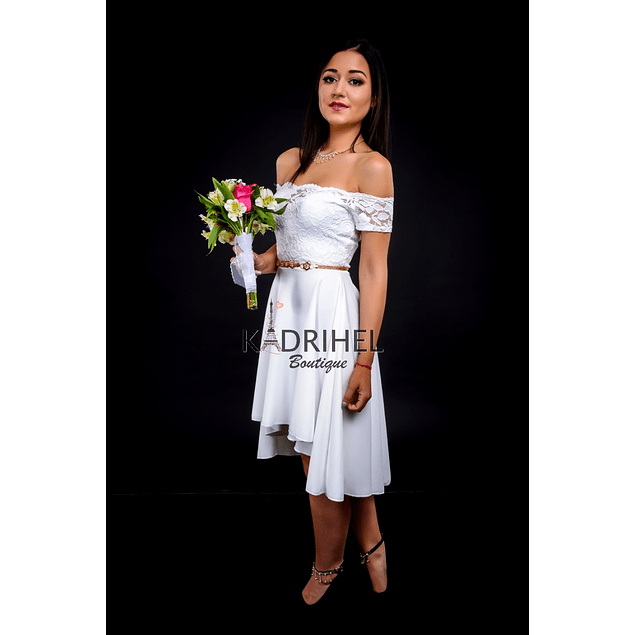 Vestido Asimétrico con Encaje sin Hombro Ideal Para boda  Tallas Plus Kadrihel.
