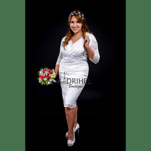 Vestido Corto Ajustado Cruzado con forma Ideal Para boda  Tallas Plus Kadrihel.