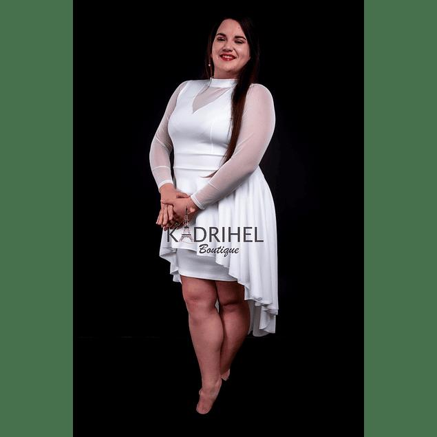 Vestido Asimétrico Cuello Alto con Malla en Mangas y Pecho Ideal Para boda  Tallas Plus Kadrihel.