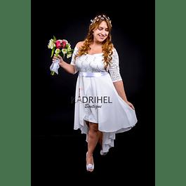 Vestido Asimétrico Con Falda Interna Ajustada Ideal Para boda  Tallas Plus Kadrihel.