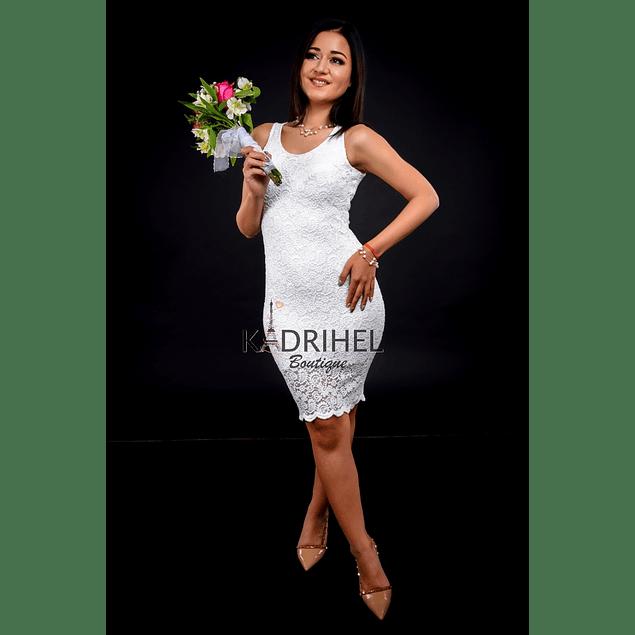 Vestido Ajustado Todo de Encaje sin Manga Ideal Para boda  Tallas Plus Kadrihel.