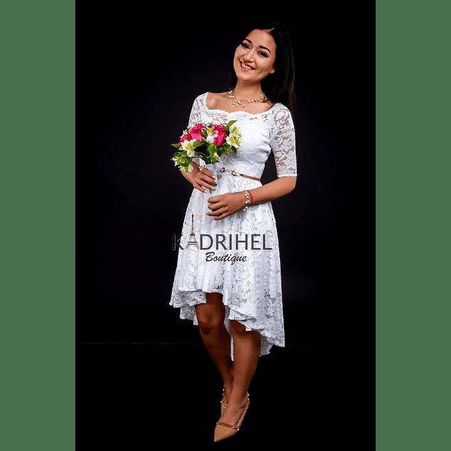 Vestido Asimetrico Todo de Encaje Ideal Para boda  Tallas Plus Kadrihel.