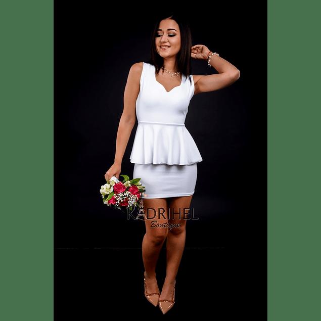 Vestido Péplum Cuello Corazón Ideal Para boda  Tallas Plus Kadrihel.