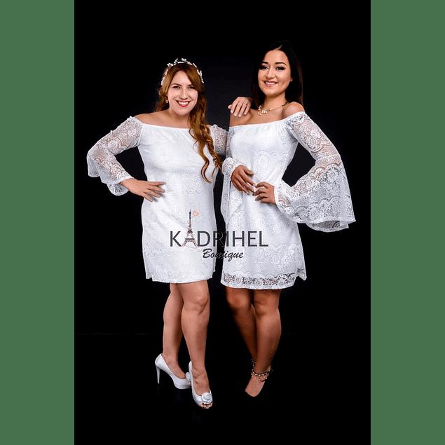 Vestido Manga Acampanado sin Hombro Todo de Encaje Ideal Para boda  Tallas Plus Kadrihel.
