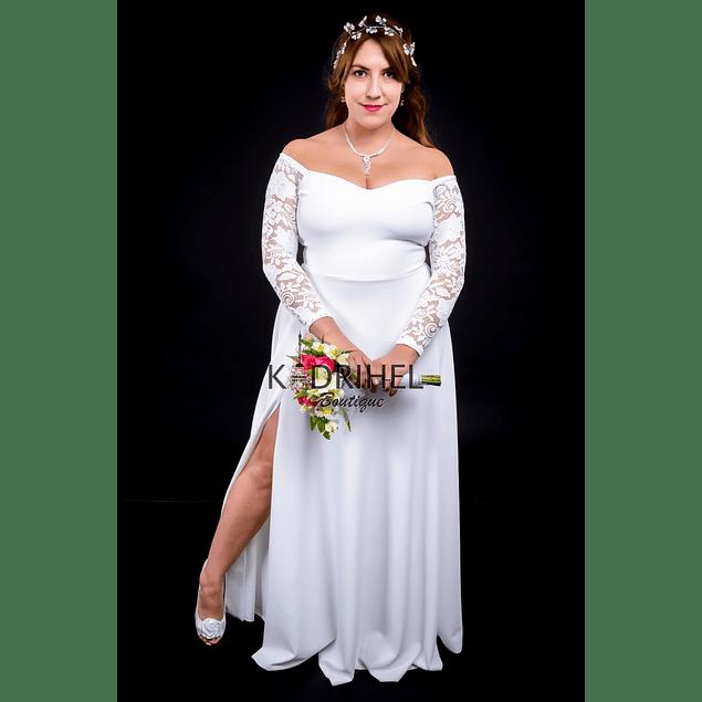 Vestido Largo Acampanado sin Hombro Manga de Encaje Ideal Para boda  Tallas Plus Kadrihel.