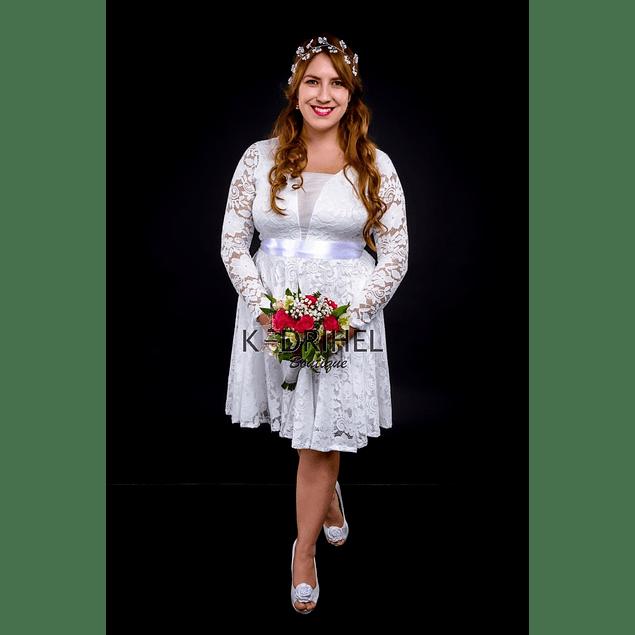 Vestido Acampanado Todo de Encaje con Transparencia en Pecho Ideal Para boda  Tallas Plus Kadrihel.