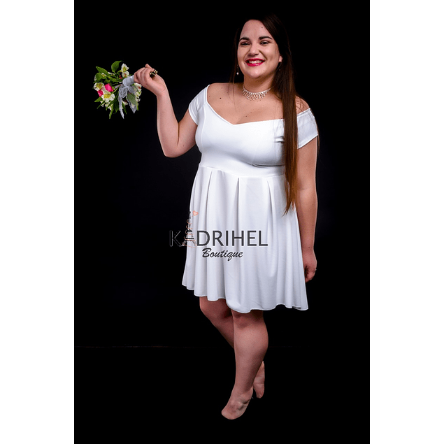 Vestido Acampanado sin Hombro Manga Corta Ideal Para boda  Tallas Plus Kadrihel.