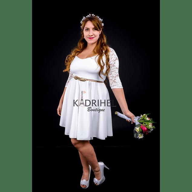 Vestido Acampanado Manga de encaje Ideal Para boda  Tallas Plus Kadrihel.