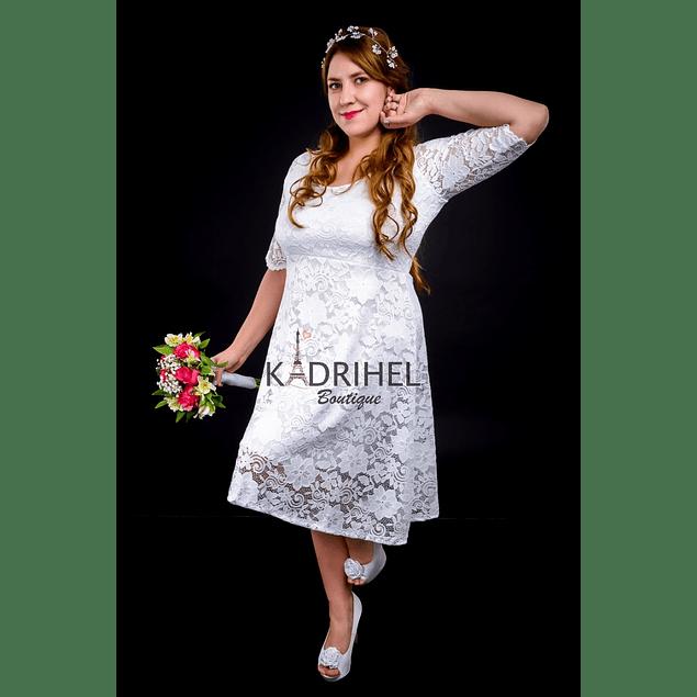 Vestido Semi Acampanado Todo de encaje Ideal Para boda  Tallas Plus Kadrihel.