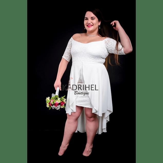 Vestido Ajustado Todo de encaje Ideal Brillante y Gaza Para boda  Tallas Plus Kadrihel.