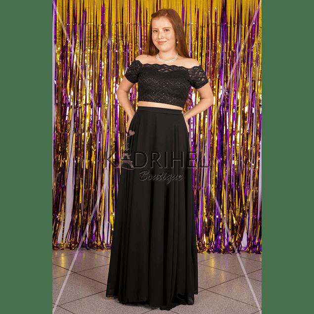 Conjunto de crop  top y falda de  gaza Tallas Plus Kadrihel