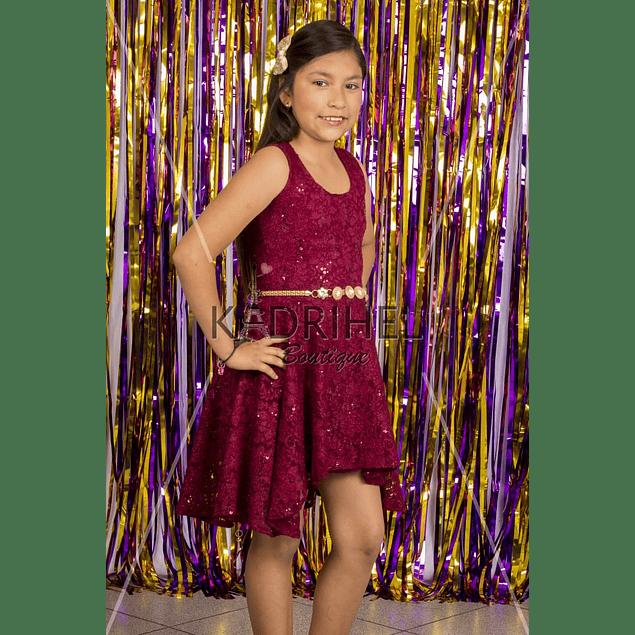 Vestido Asimétrico de Niña Para Fiesta de encaje
