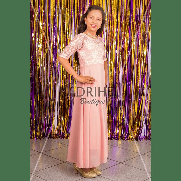 Vestido Largo de Niña Tipo Princesa Para Fiesta