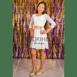 Vestido Corto de Niña de Encaje y falda de gaza  Para Fiesta