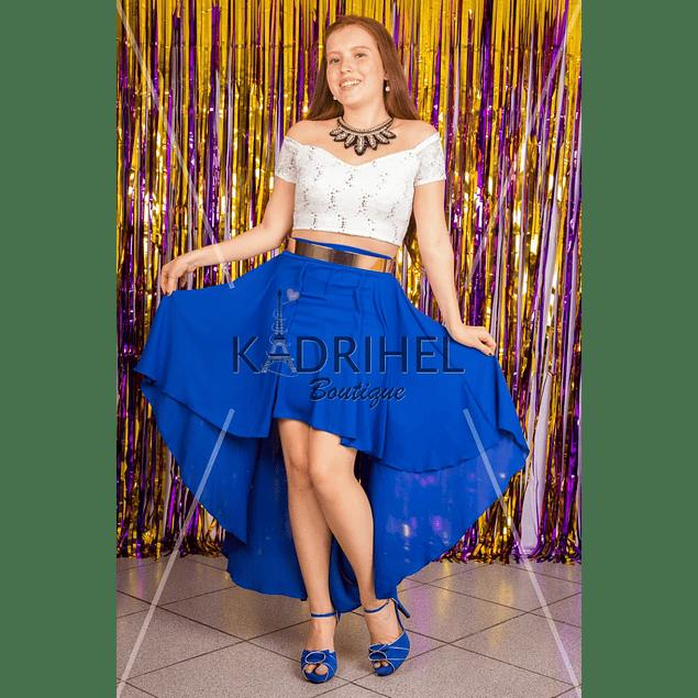 conjunto  falda asimetrica con crop top conjunto sexy vestido de fiesta kadrihel ( NO INCLUYE CINTURON)