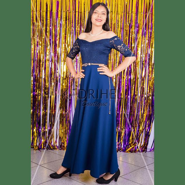Vestido Largo con encaje  Ideal para Galas Talla Plus Kadrihel