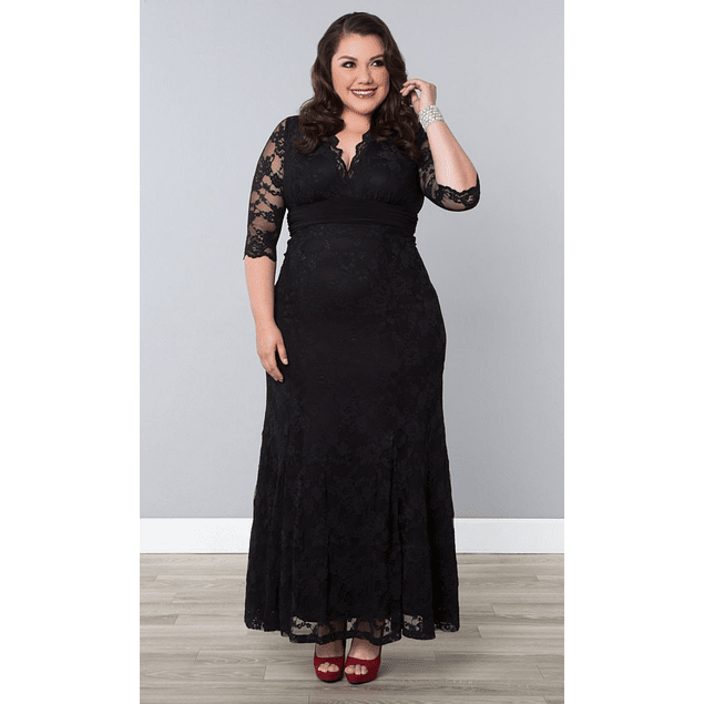 Vestido Largo Todo de Encaje Manga 3/4 De Fiesta Gala Matrimonio Talla Plus Kadrihel