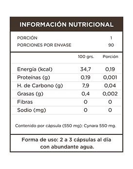Cynara (Alcachofa)  90 Cápsulas  550 Mg