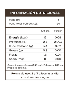 Echinacea+Propoleo  90 Cápsulas  550 Mg
