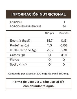 Guaraná 90 Cápsulas 500 Mg