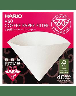 V60 Filtro de papel blanco 02 - 40 Und