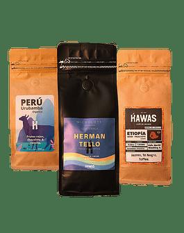 Pack Trio: Café Etiopia + Perú + Guatemala 250gr.