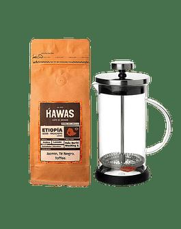 Pack Prensa Francesa 600 ml + Café Etiopia Halu Beriti 250 gr.