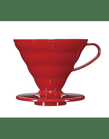 V60 Dripper Hario 02 Acrílico Rojo