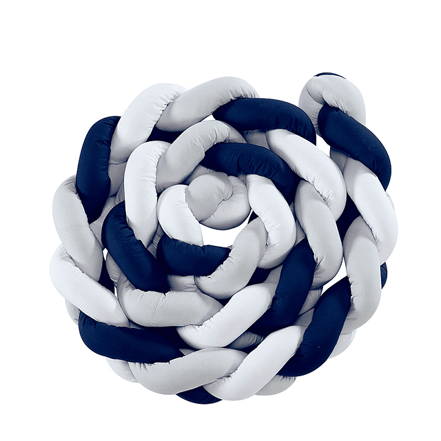Protector Barandas Cuna Tejido 100% Algodón Azul Marino