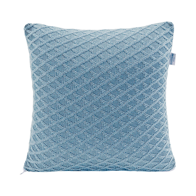 Cojin 100% Lana Relleno Silicona Azul