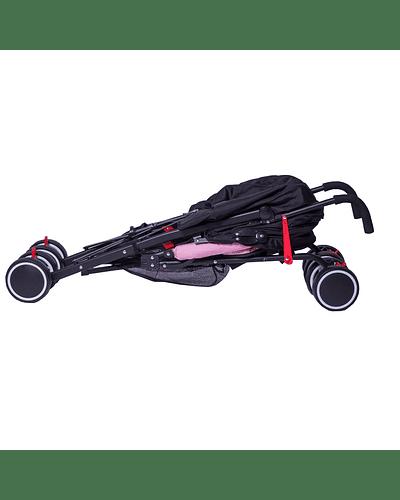 Coche Paragua 5 Posiciones Rosado Negro