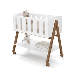 Mini cuna colecho Liv Blanca/Eco wood Con ruedas