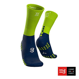 Nuevo Calcetín Mid Compression Azul/Lima, Compressport