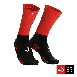 Calcetín Mid Compression Negro/Rojo, Compressport