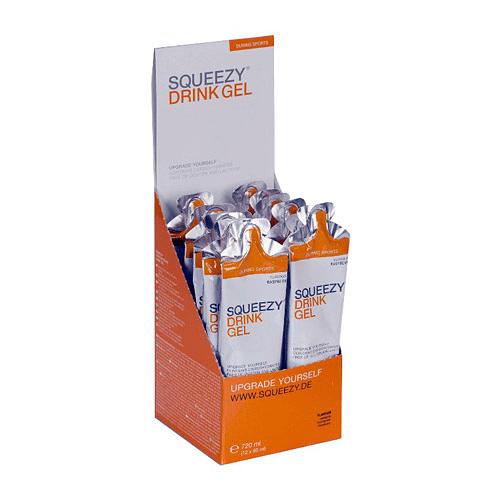 DRINK GEL frambuesa (sin cafeína) caja 12 unid., SQUEEZY