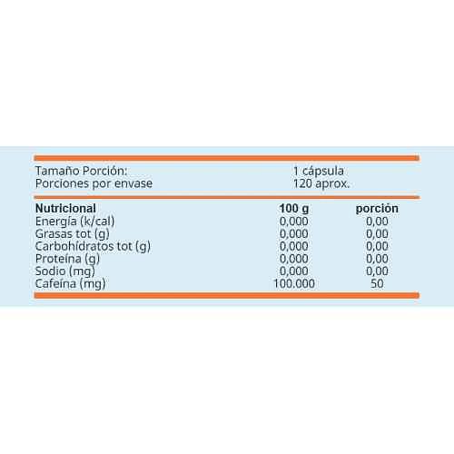 Pastillas de cafeína 50 mg Chronos (120 cápsulas), Winkler
