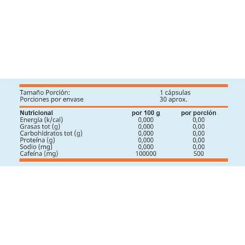 Pastillas de cafeína 500 mg Chronos (30 cápsulas), Winkler