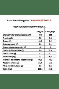 Barra energética artesanal Cranberry Ciruela (20 unid.), Chilberries
