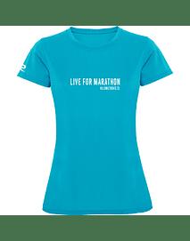 Polera técnica mujer Marathon Trainning turquesa