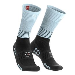 Calcetin Mid Compression Negro/Calipso, Compressport
