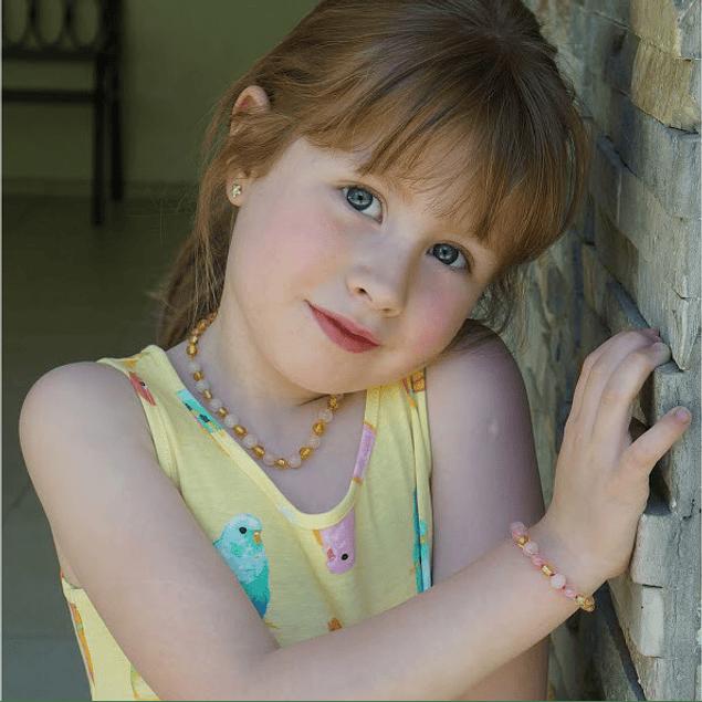 Collar de ámbar infantil miel y cuarzo rosado