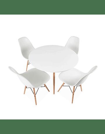 Comedor circular estilo Eames 100 cms + 4 Sillas Eames DSW blanco