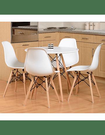 Comedor circular estilo Eames 80 cms + 4 Sillas Eames DSW blancas